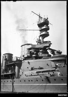 HMS REPULSE anchored in Athol Bight