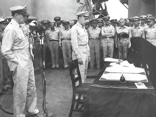 Japanese Foreign Minister Mamoru Shigemitsu signs surrender