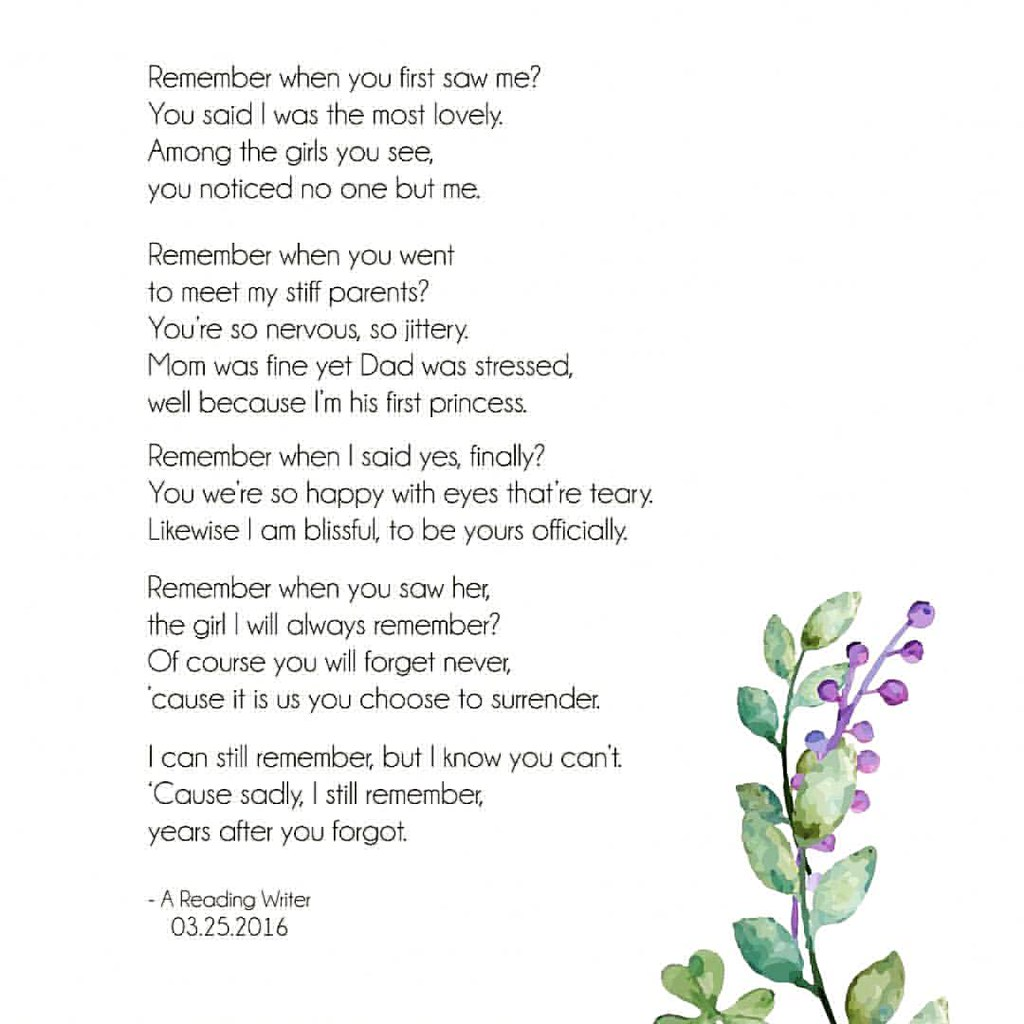 Remember by @areadingwriter Support Filipino writers/poets