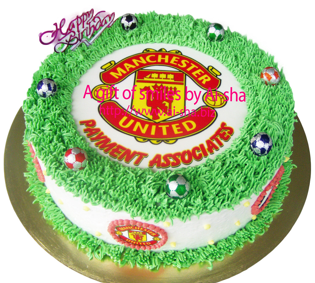 Terrific Birthday Cake Edible Image Manchester United Cupcake Cake Birthday Cards Printable Nowaargucafe Filternl