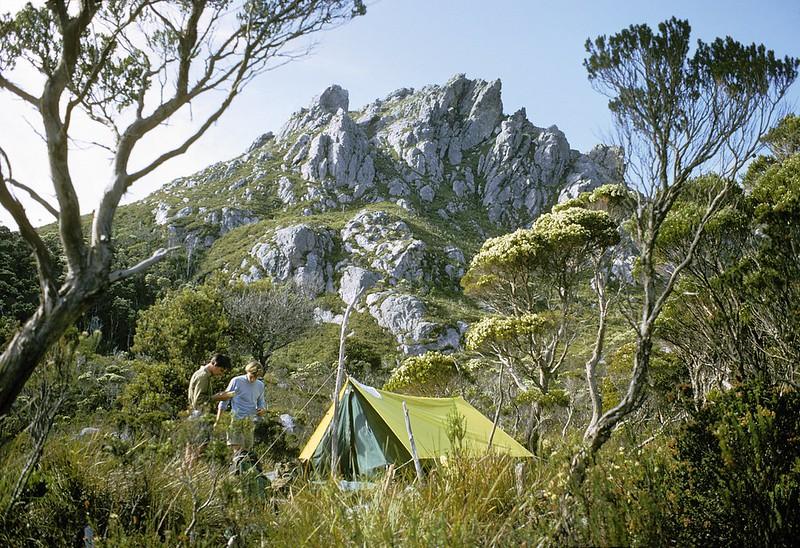 Sanctuary campsite, Frankland Ranges. SW National Park, Tasmania, December, 1971.