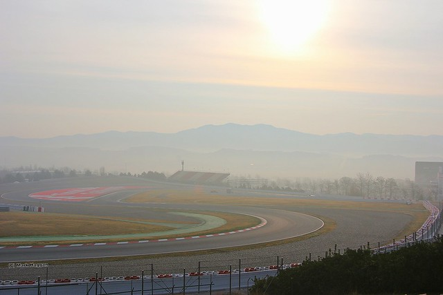 Sun rises on the Circuit de Catalunya on the final day of Winter Testing for the 2012 Formula One Season