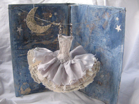 Miniature Paper Dress Art Assemblage