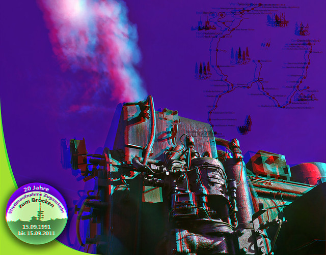 Steam Train Postcard 3D ::: HDR Anaglyph Stereoscopy