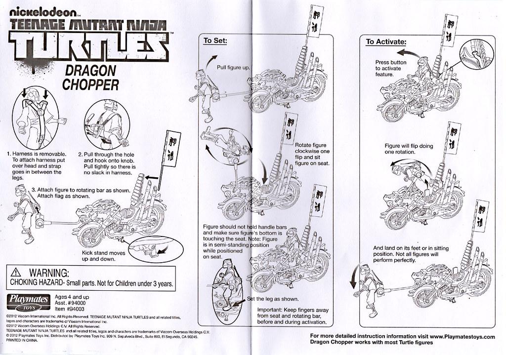 Nickelodeon  TEENAGE MUTANT NINJA TURTLES :: DRAGON CHOPPER / INSTRUCTIONS (( 2012 )) by tOkKa