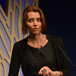 Elif Shafak on stage at the Edinburgh World Writers' Conference c Pascal Saez | Elif Shafak on stage at the Edinburgh World Writers' Conference. Elif chaired the first debate 'Should Literature be Political'