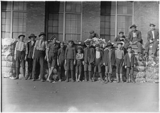 Group of boys working in Lancaster Cotton Mills. Smallest boy in middle said he has been in the mill off and on for 5 years, November 1908