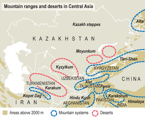 Map Of Asia Himalaya Mountains.Mountain Ranges And Deserts In Central Asia A Map Showing Flickr