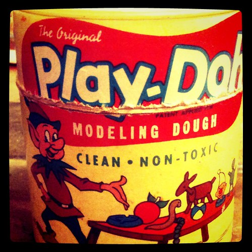 "Super Rare Original "" Play Doh"" can using the Word ""Dough"" generically rather that ""Modeling Compound"" these cans were only in the early 1950's Licensed Hasbro Products. Play Doh at the time was made by ""Rainbow Crafts"" 