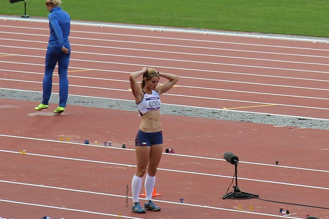 Eliska Klukinova of the Czech Republic in the long jump during the heptathlon at the London 2012 Olympics