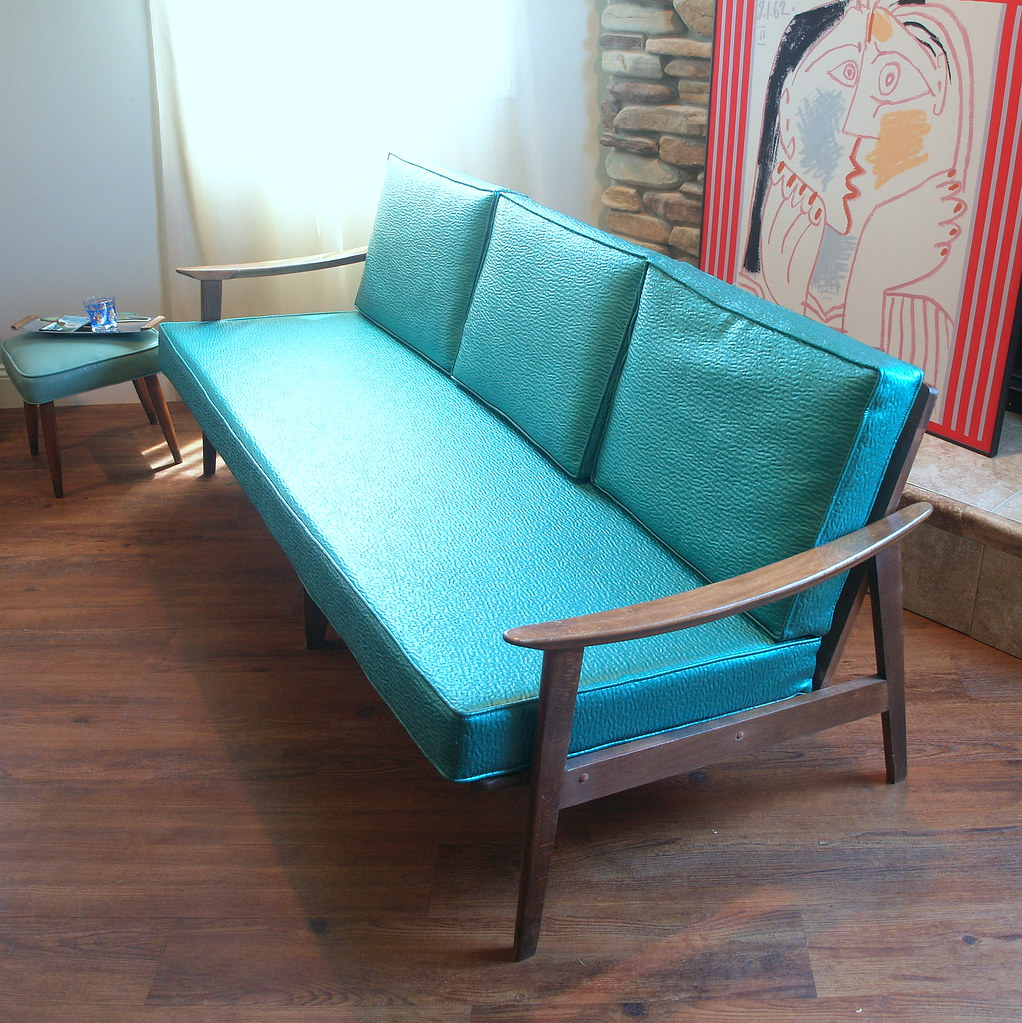 Remarkable 1950S Mid Century Modern Teal And Walnut Sofa Pulled From Caraccident5 Cool Chair Designs And Ideas Caraccident5Info