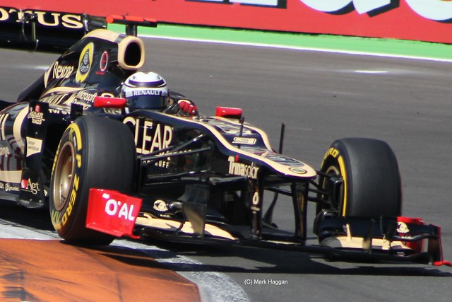Kimi Raikkonen in his Lotus F1 car at the 2012 European Grand Prix in Valencia