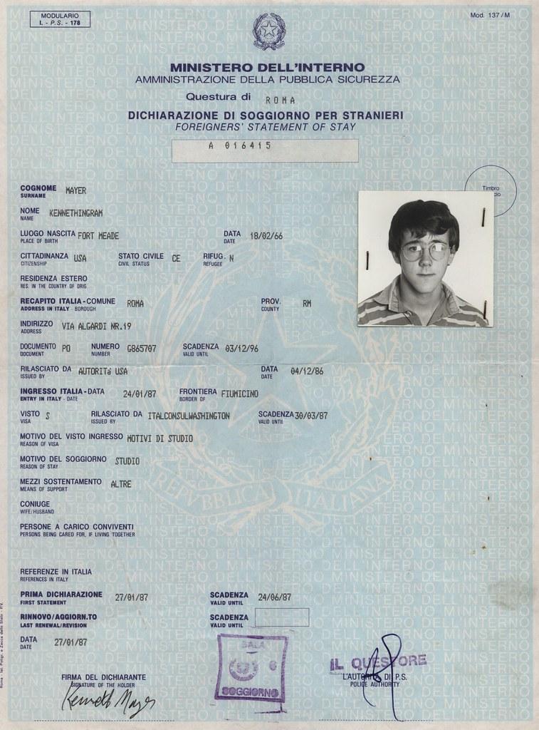 Italia permiso di soggiorno italy 1987 questura rome for Italian soggiorno
