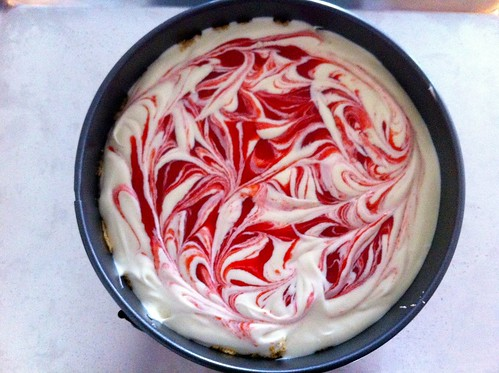 Strawberry Swirl Cheesecake Ready for Baking | by javelinwarrior