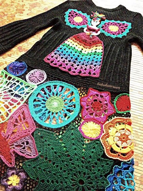 Fairy Princess In The Enchanted Forest - Irish Lace Upcycled Rainbow Hippie Crochet Sweater Coat