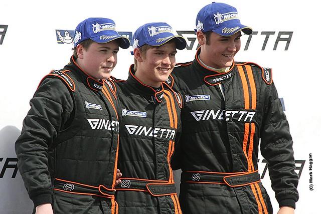 The Ginetta Junior podium at the 2012 BTCC weekend at Donington Park in April 2012