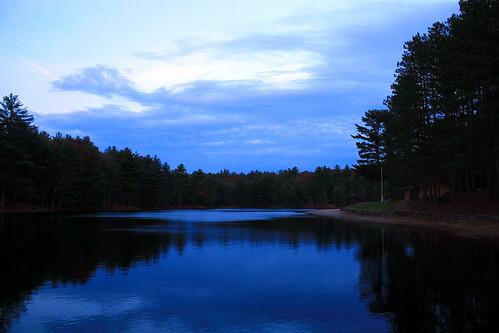 blue trees sky water clouds pond logcabin waterreflections pondreflections glocesterri casimirpulaskistatepark