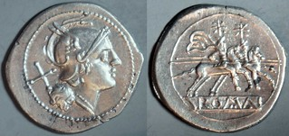 44/5 anonymous Roma Dioscuri Denarius straight visor, compact head, semi-incuse legend | by Ahala