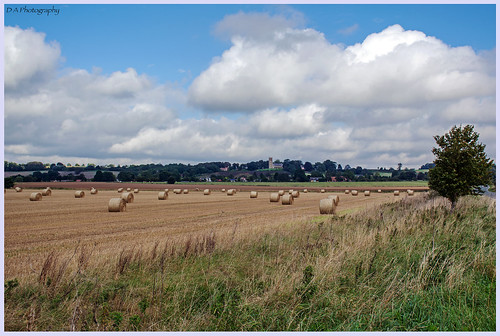 fields bales church lincolnshire westkeal sthelen strawbales buildings trees clouds sky