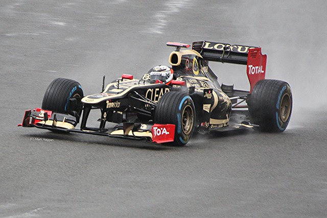 Kimi Raikkonen in his Lotus F1 car at Silverstone