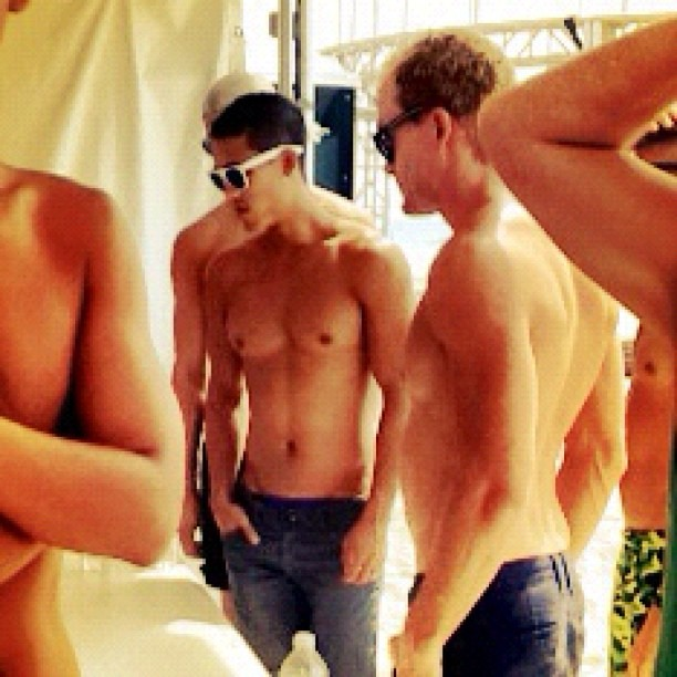 Cute Shirtless Volunteers at Pines Party Set-up