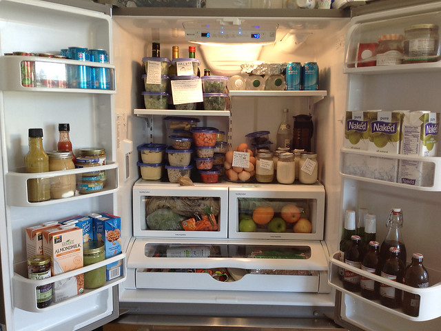 Stocked fridge. Real food.