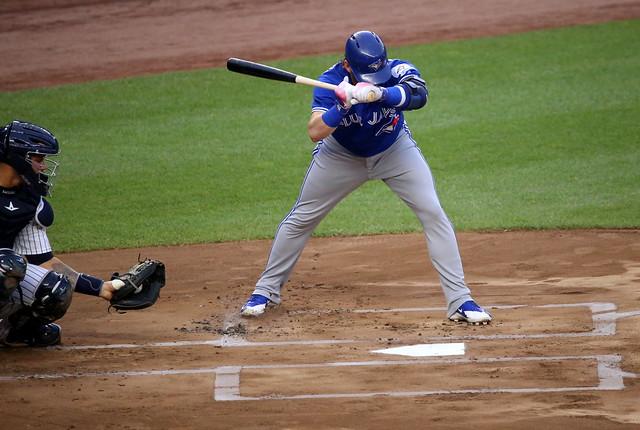Blue Jays slugger Josh Donaldson takes a pitch.