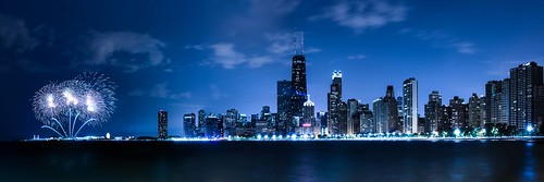 city longexposure blue sky panorama lake chicago tower night buildings illinois nikon long exposure cityscape unitedstates fireworks michigan tripod hancock nikkor 70200mm chicagoist vrii leventeryilmaz d800e