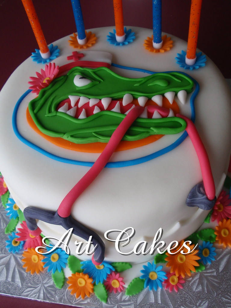 Strange Gator Birthday Cake Nora Rexach Flickr Personalised Birthday Cards Veneteletsinfo