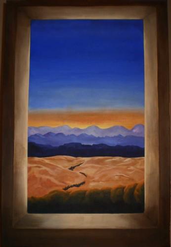 abstract sunrise dawn acrylic desert pecantrees