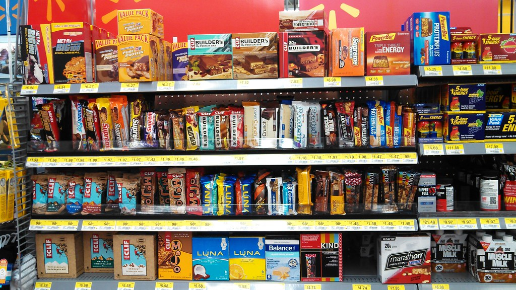 Hundreds of Protein Bars on shelves