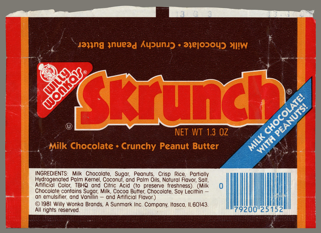 Sunmark Willy Wonkas Skrunch Candy Bar Wrapper 19