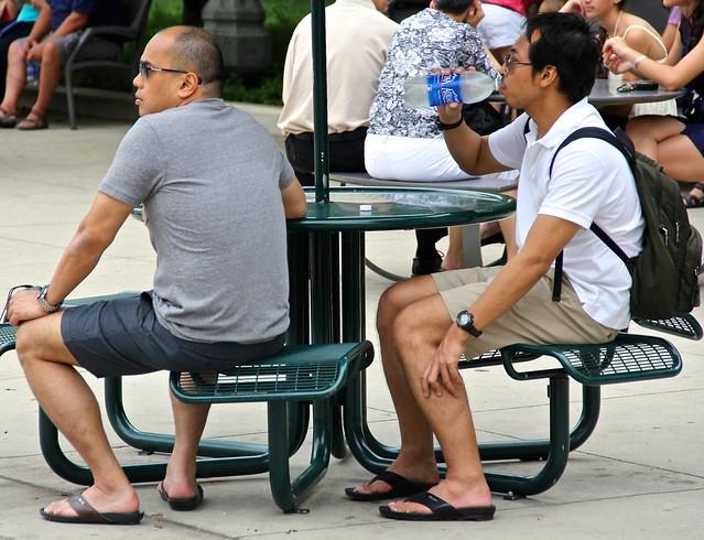 Couple taking a break in Millennium Park