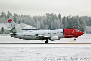 Norwegian B737-3K2 LN-KKH arriving rwy 19R at OSL January 6th 2007 | by Ole Johan Beck