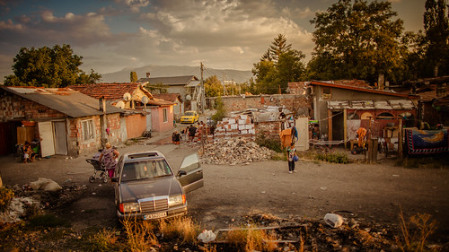 sofia bulgaria contryside travel train interrail serbia sunset street kids playing car family poor