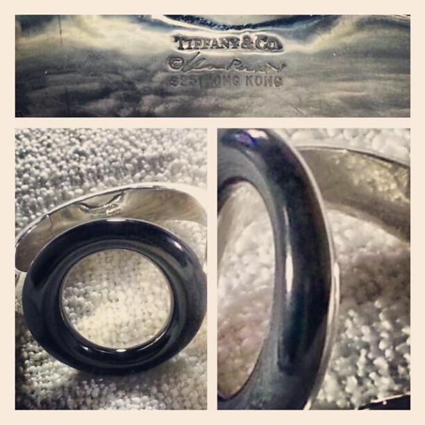 11a3caf5b Tiffany & Co. Elsa Peretti $1,950 Sevillana black jade/silver large cuff  bracelet.
