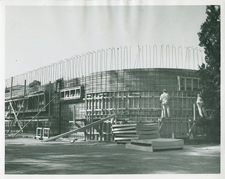 The construction of Memorial Gym. This photograph appeared in a March 1950 newsletter.