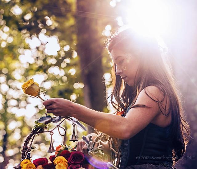 Girl, Flowers, Light