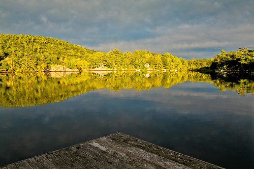 sunset reflections day cloudy camden maine hosmerpond