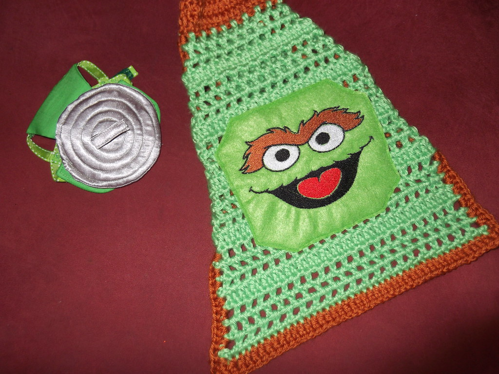 Oscar The Grouch With Trash Can Lid Hat Dianadesignsny And