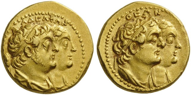 An Excessively Rare Greek Gold Didrachm of Quarter Mnaieia of the Ptolemaic King Ptolemy II Philadelphos, with Arsinoe II, Ptolemy I, and Berenike I