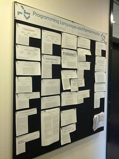 """09/14/2012: The PL group's """"accepted/in progress"""" bulletin board at Aarhus University   by Lindsey Kuper"""