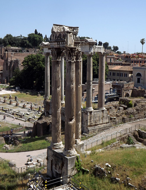 The Temple of Vespasian and the Temple of Saturn from the Tabularium in Rome, June 2012