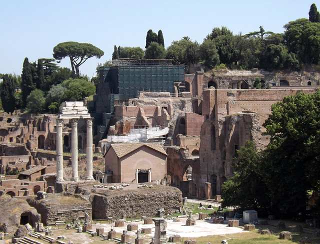 View of the Forum and the Palatine Hill from the Tabularium in Rome, June 2012