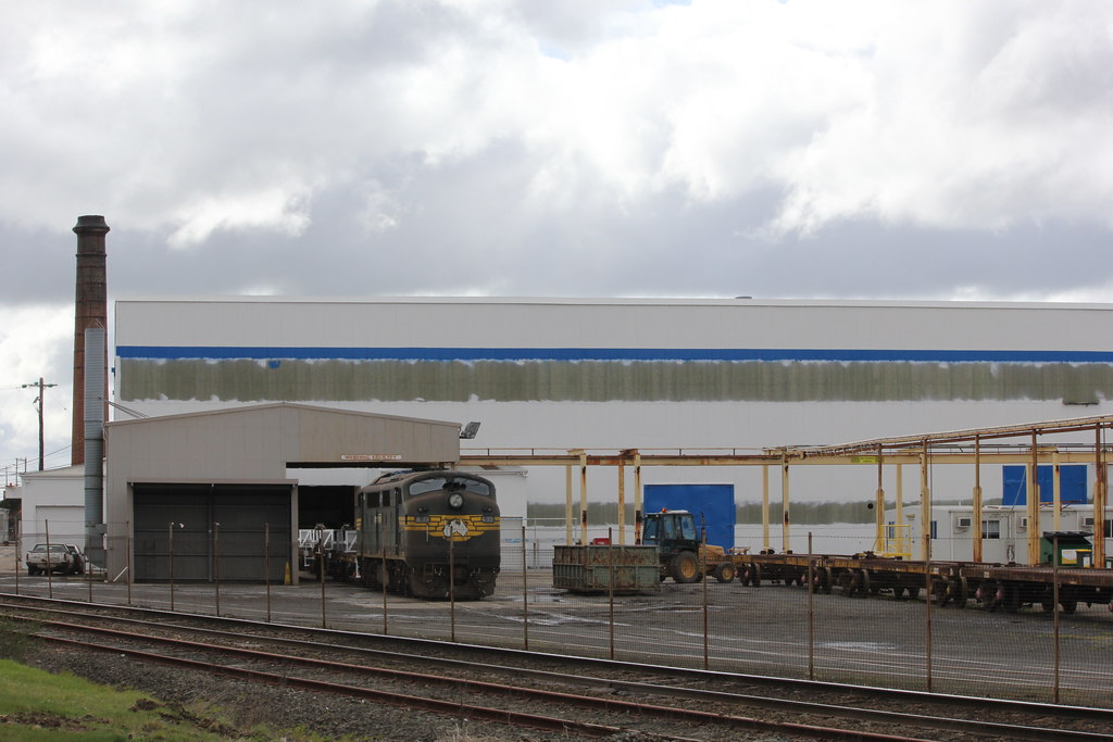 A77 sits at the North Ballarat Workshops waiting for the final inspections on the wagons to be completed by bukk05