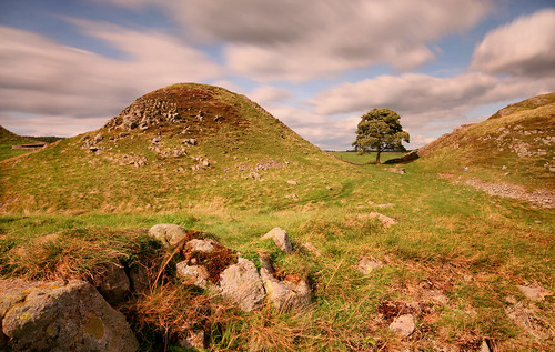 sycamore gap hadrians wall hadrianswall northumbria northumerland england english uk united kingdom great britain british long exposure rocks tree clouds sky blue historic landscape view scenery scenic countryside light grass hills canon 70d sigma travel trip
