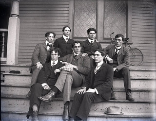 Pomona College track team (1904) on steps of Holmes Hall
