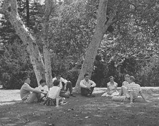 Hulbert Burroughs photo of students on Marston Quad in 1950
