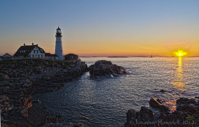 HDR Portland Head Light Sunrise