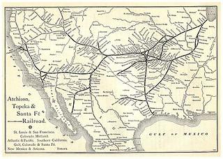 Santa Fe train route in 1887